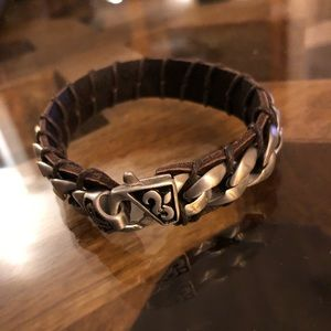 🆕Leather and stainless steel men's bracelet